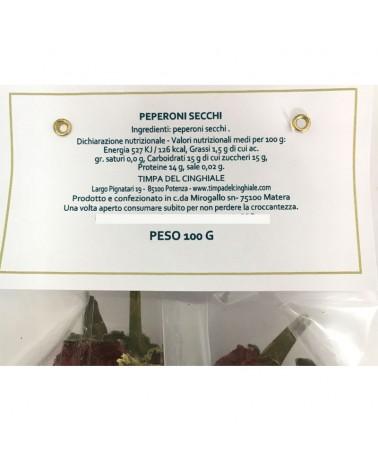 Peperoni cruschi da friggere 100 gr - Etichetta